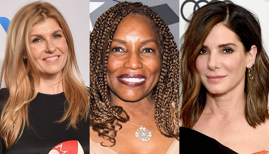 item 9, Gallery image. Connie Britton with a crooked part style, Stephanie Mills in golden-brown braids and Sandra Bullock with a festive wave style.