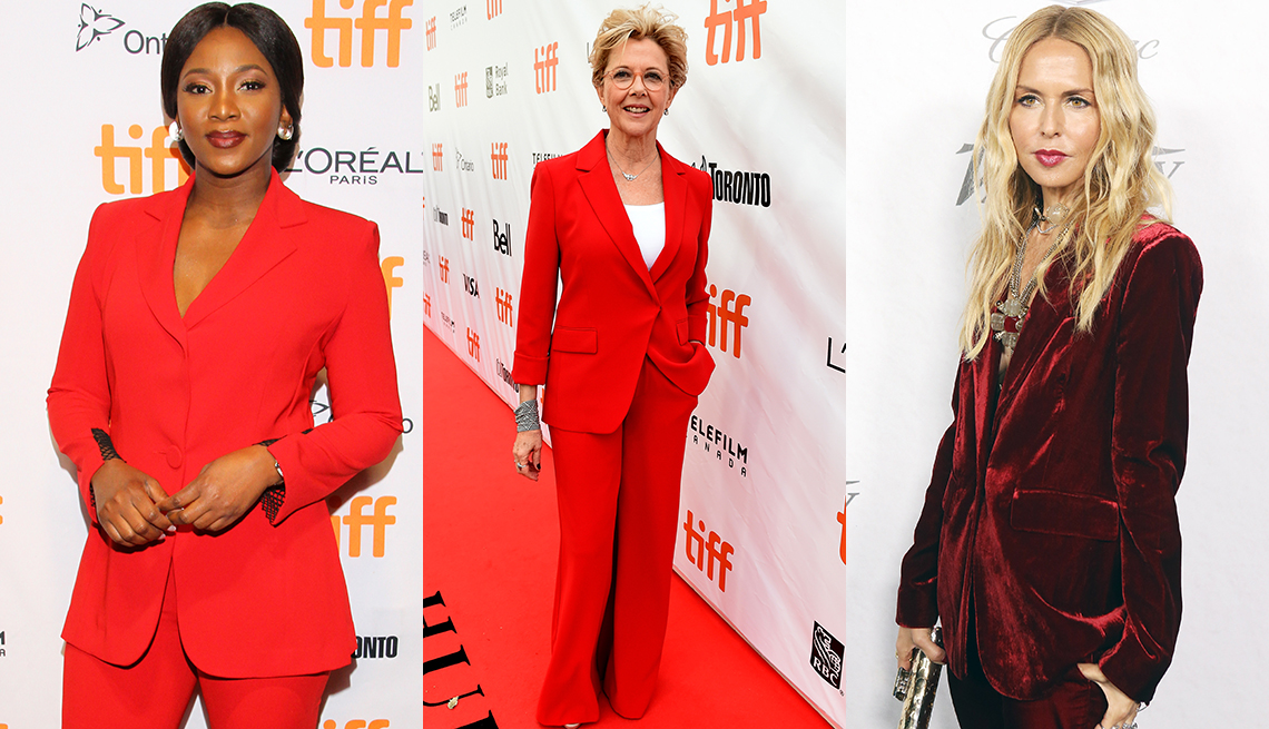 item 10 of Gallery image - Genevieve Nnaji, Annette Bening and Rachel Zoe in colorful pant suits.