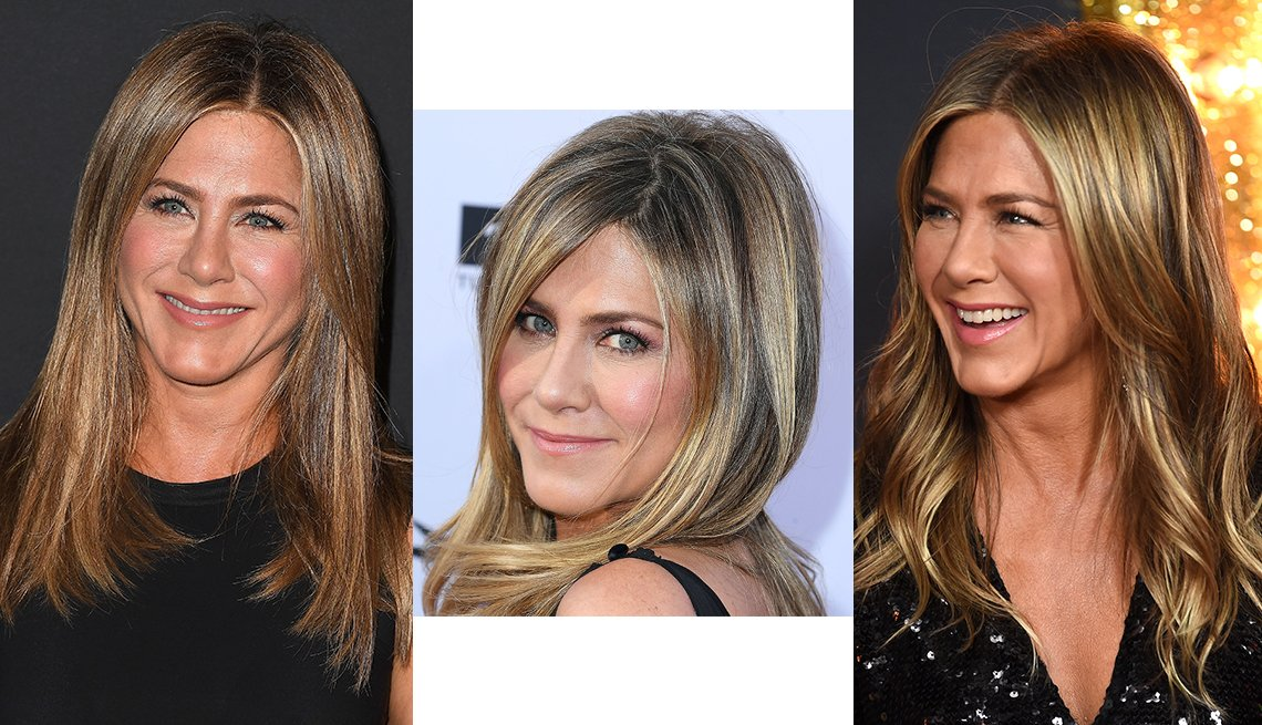 item 1 of Gallery image - Jennifer Aniston with three different hair styles