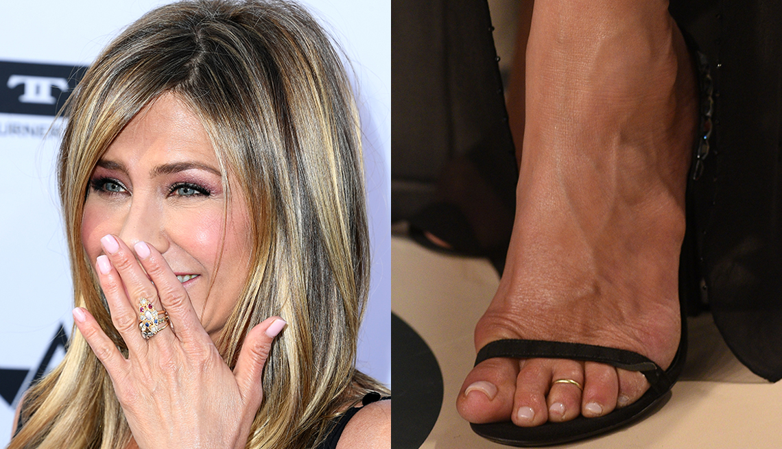 item 3 of Gallery image - Jennifer Aniston with light-toned polish on her nails and toes