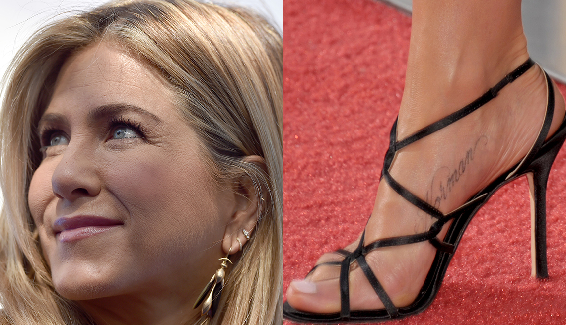 item 4 of Gallery image - Jennifer Aniston with three ear piercings and a tattoo on her foot.