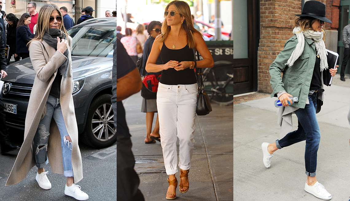 item 7 of Gallery image - Jennifer Aniston with various accessories, including scarf, handbag and hat.