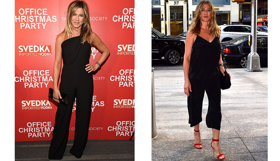 item 10, Gallery image. A one-shoulder black jumpsuit with fluid draped leg makes the cut; a relaxed, flowing tank style gets extra zip from red strappy heels.