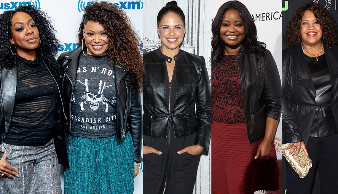 Tichina Arnold, Tisha Campbell, Soledad O'Brien, Octavia Spencer, y Chandra Wilson usando chaqueta de cuero.