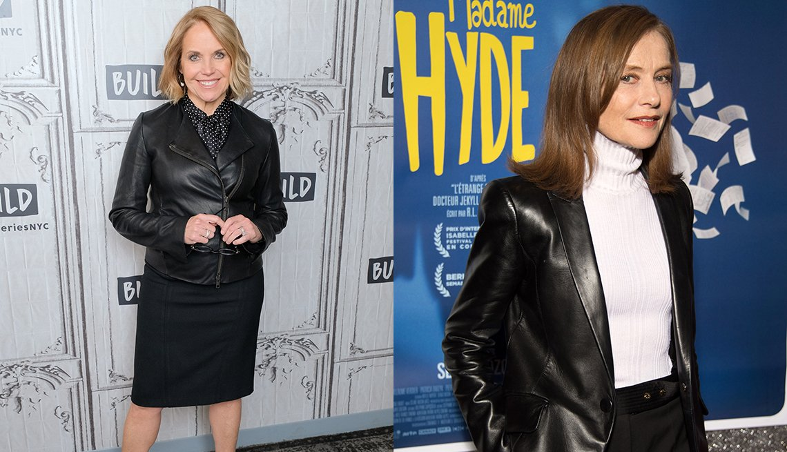 Katie Couric e Isabelle Huppert usando chaquetas de cuero.