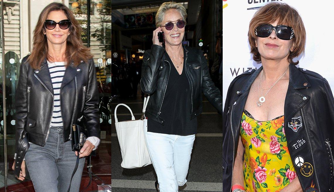 Cindy Crawford, Sharon Stone y Frances Fisher usando chaquetas de cuero.