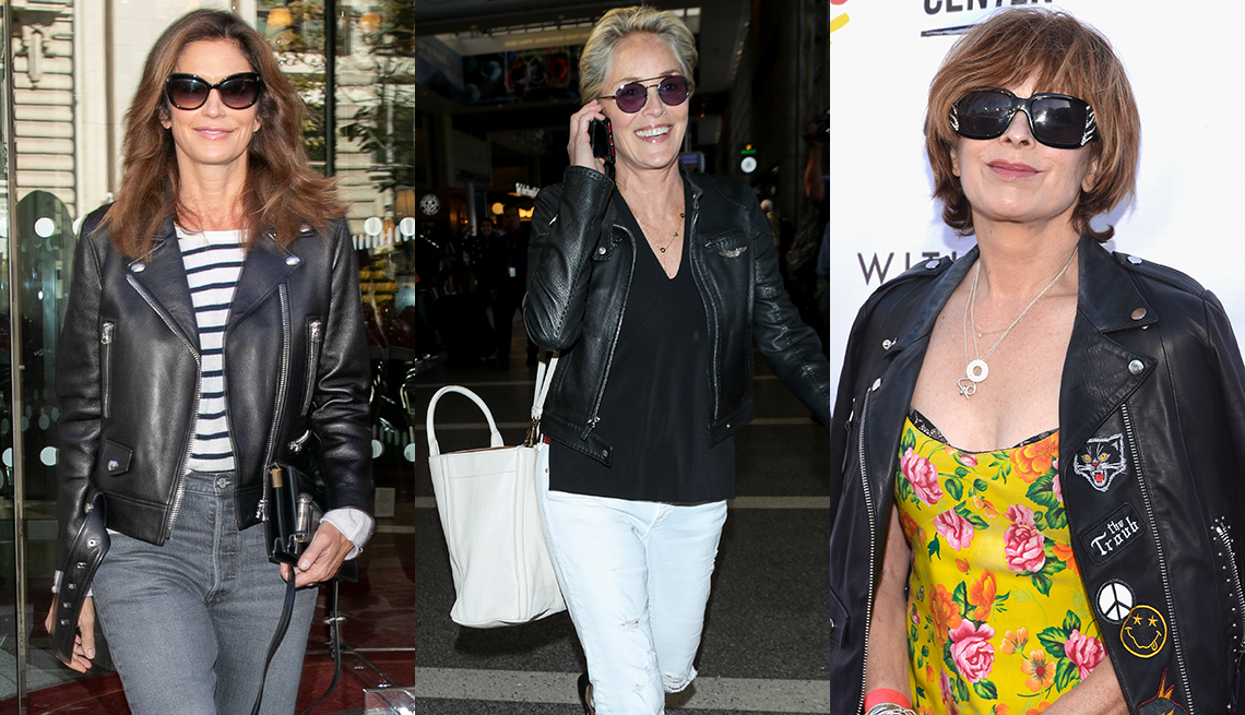 Woman wearing leather jackets year round