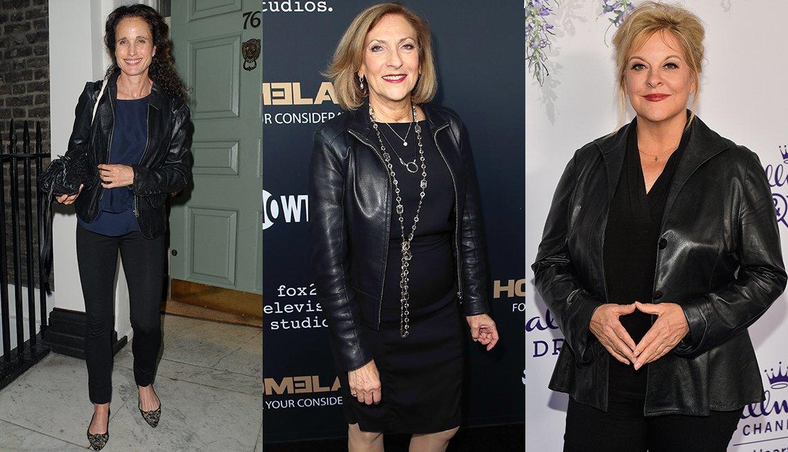 Andie MacDowell, Lesli Linka Glatter, Nancy Grace usando chaqueta de cuero.