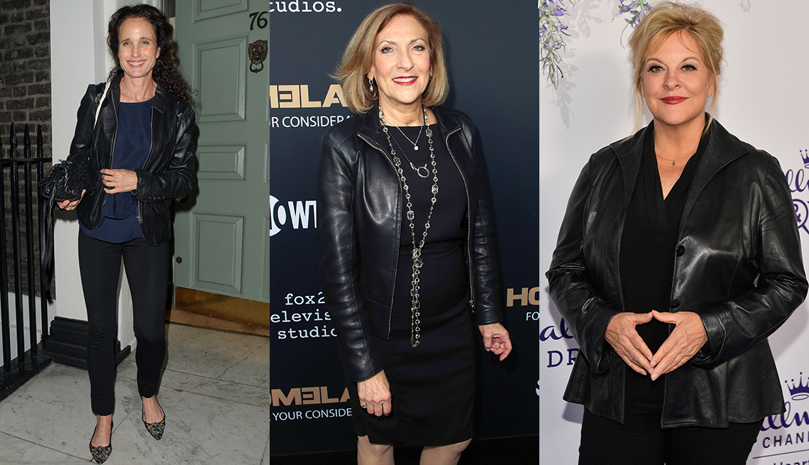 Leather jackets fitting women perfectly.
