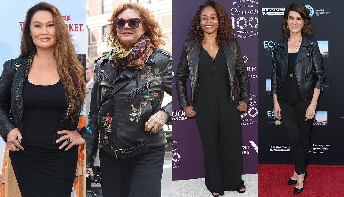Tia Carrere, Susan Sarandon, Pearlena Igbokwe, Nia Vardalos usando chaqueta negra.