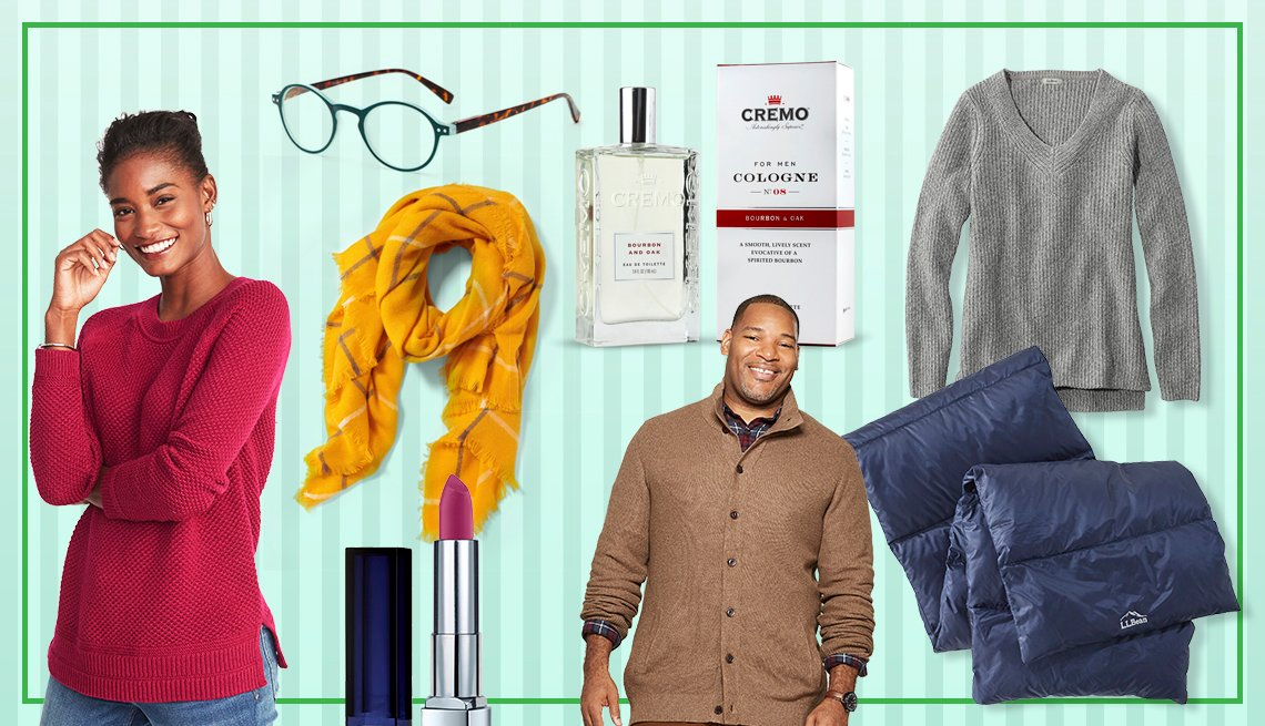 Various gifts ideas for men and woman, including sweaters, glasses and scarfs.