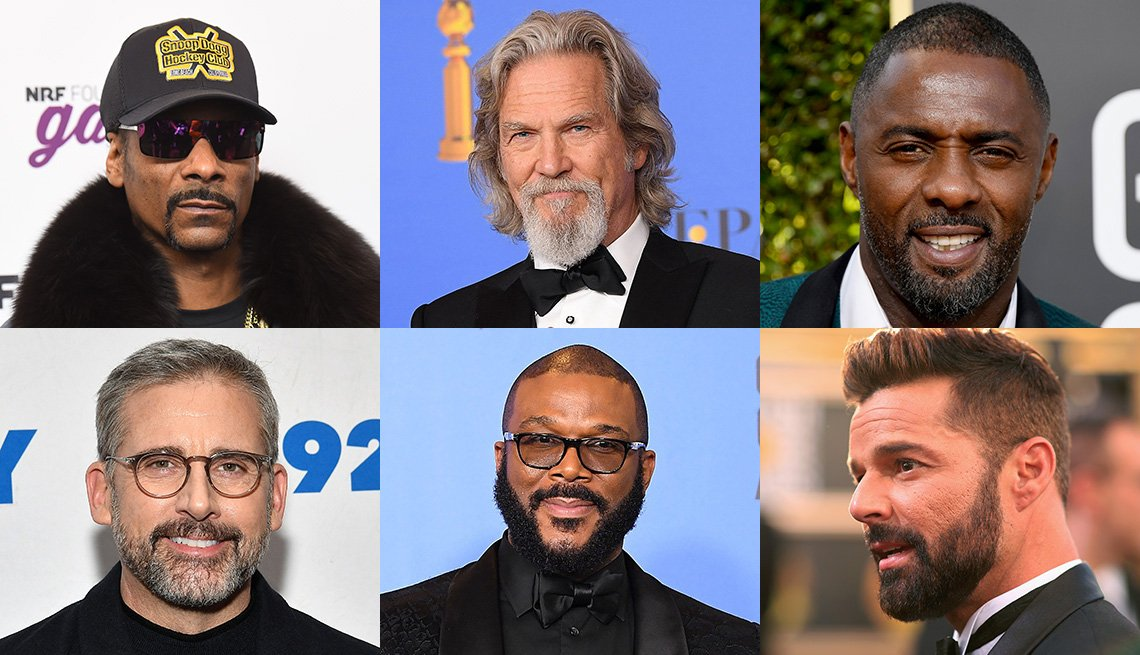 Artistas famosos con barba: Snoop Dogg, Jeff Bridges, Idris Elba, Ricky Martin, Tyler Perry, Steve Carell