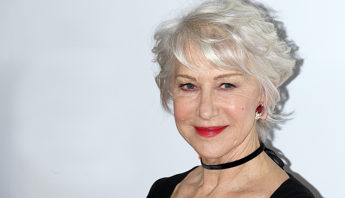 Helen Mirren hair styled with a little layering