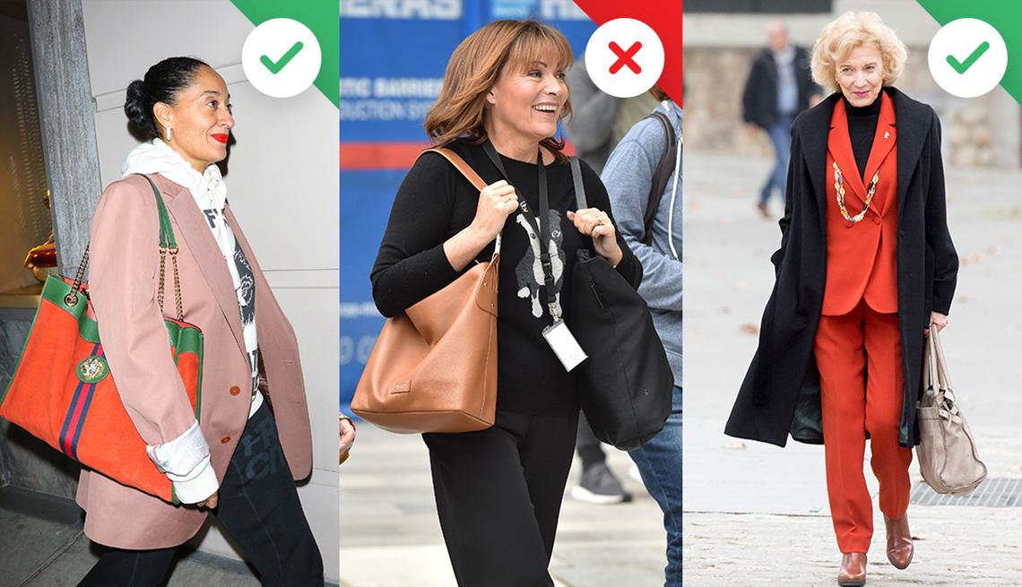 Women wearing handbags in various ways