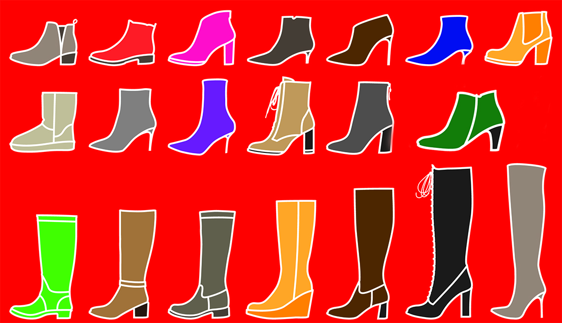 A graphic showing various styles of boots