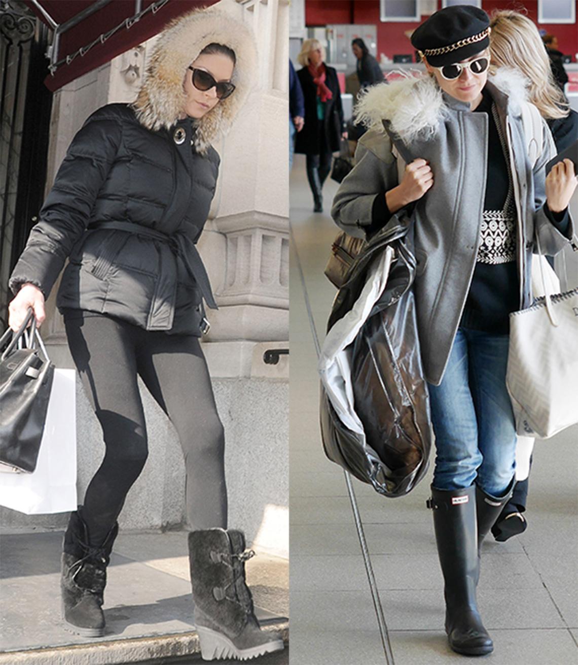 77db4dea3 Catherine Zeta Jones y Diane Kruger con botas de nieve y lluvia.