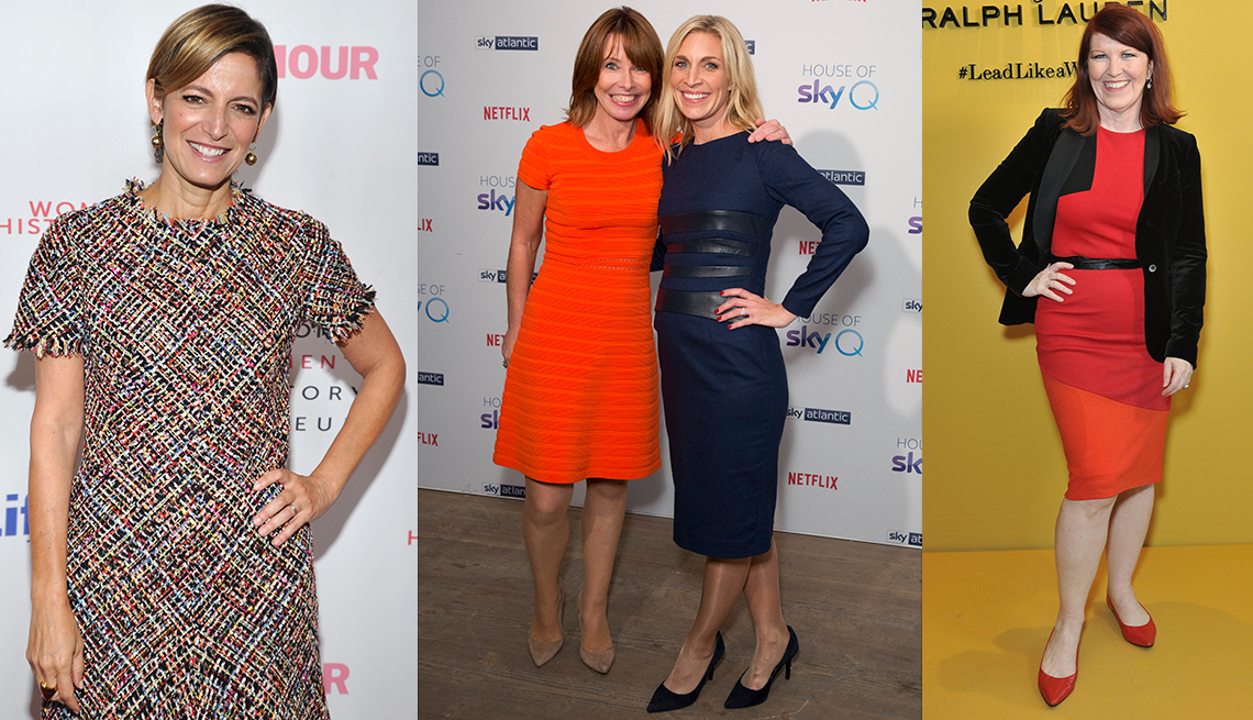 Women wearing multicolor and solid dresses
