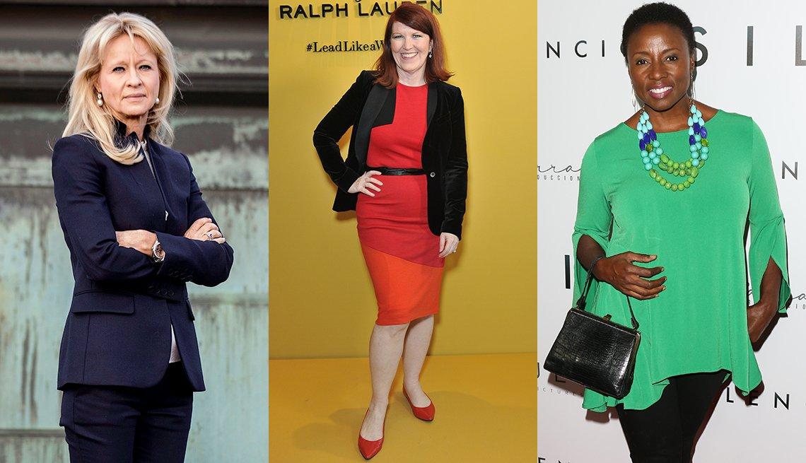 Annika Falkengren, Kate Flannery y Joni Bovill en varios vestidos apropiados para la entrevista de trabajo