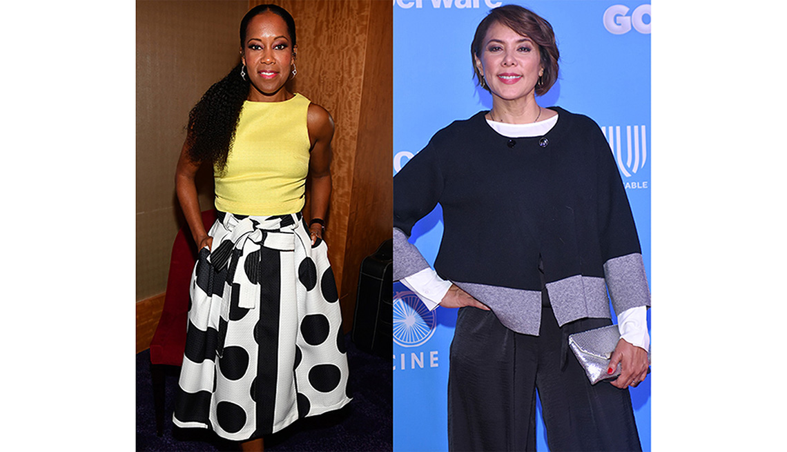 Regina King and Carmen Madrid wearing clothes that have volume below the waist