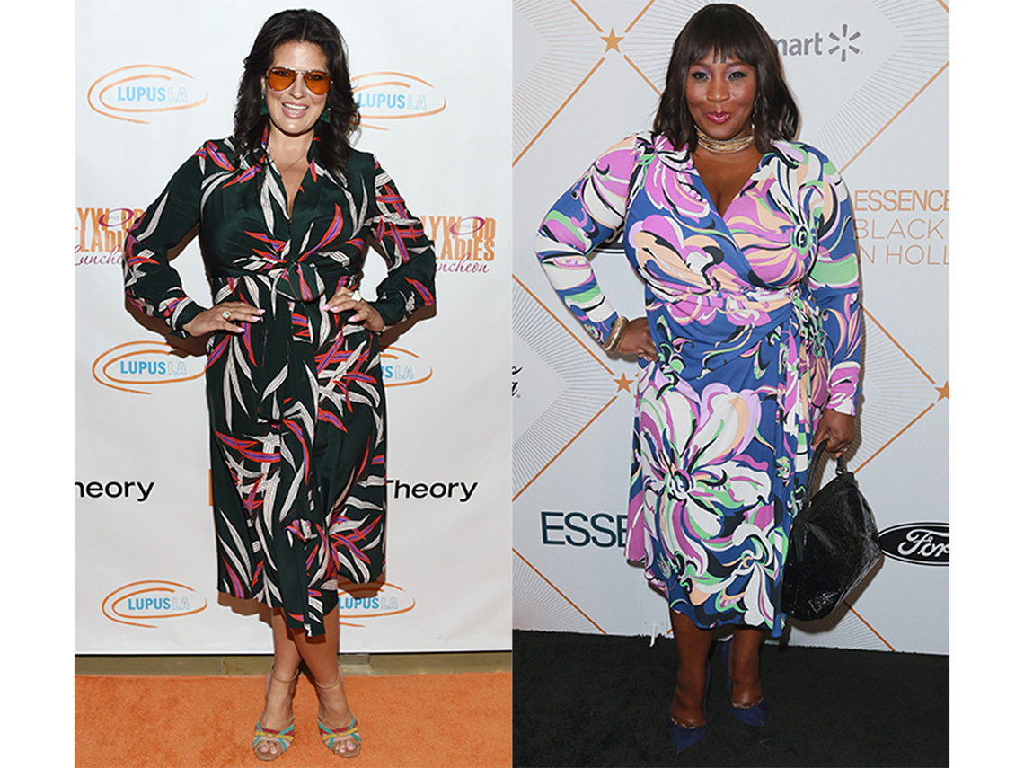 Dawn McCoy and Bevy Smith in printed dresses