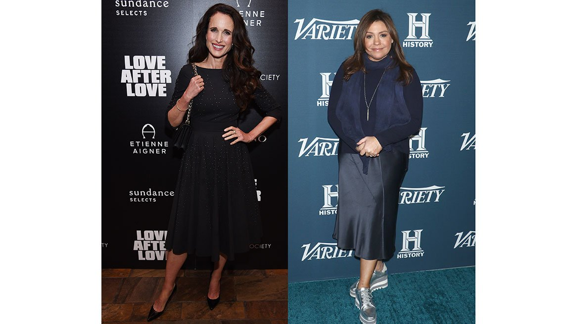 item 1, Gallery image. Andie MacDowell in a midi-dress length just above the swell of the calf; Rachael Ray in a straight midi just below the calves.
