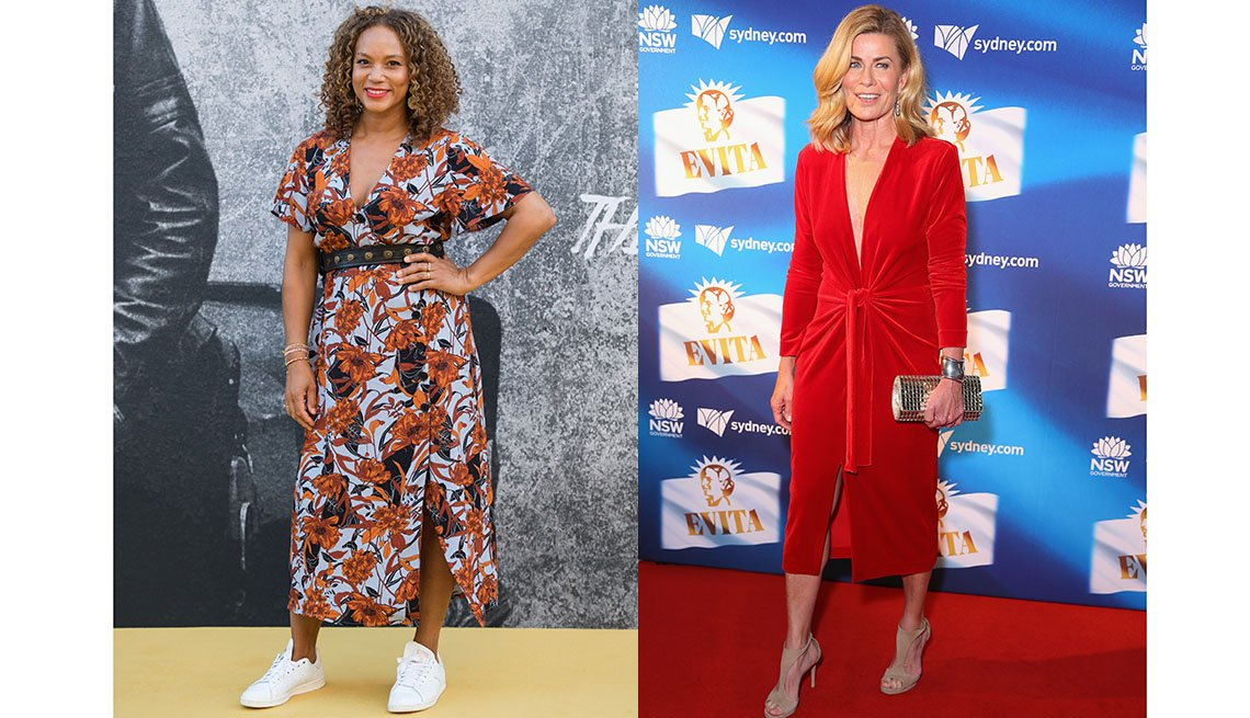 item 8, Gallery image. British actress Angela Griffin and Australian editor and spokesmodel Deborah Hutton are both wearing midi dresses with a slit.