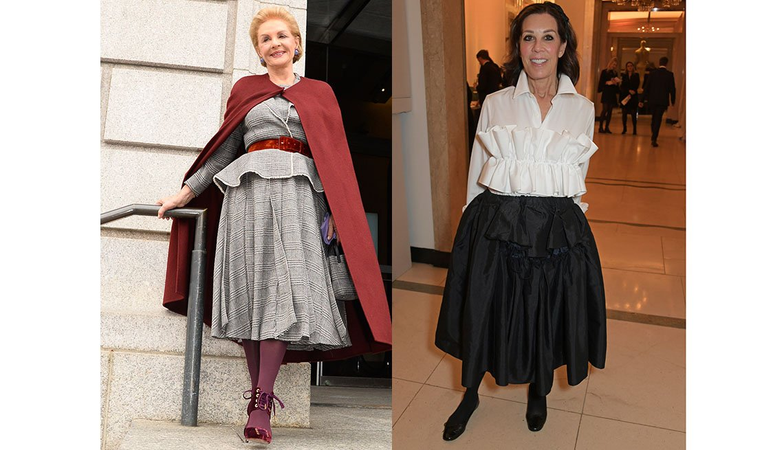 item 4, Gallery image. Designer Carolina Herrera in belted flared midi suit; Publicist Peggy Siegal dons a midi.