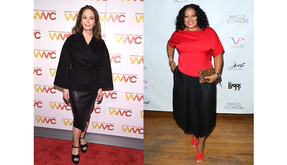 item 2, Gallery image. Diane Lane in a pencil midi just above calves; Lela Rochon in a pleated midi that's inches above her ankles.