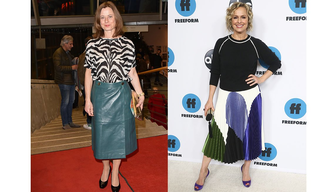 item 6, Gallery image. German actress Inka Friedrich in a leather midi; Melora Hardin in a pleated A-line midi.