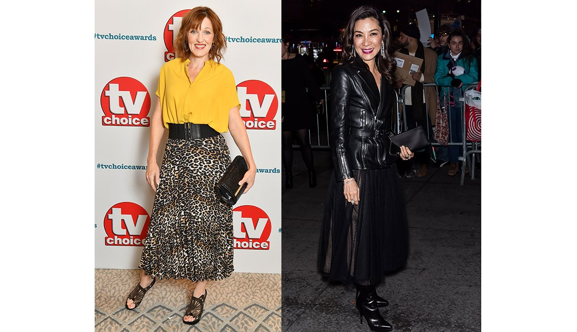 item 10, Gallery image. British actress Kacey Ainsworth in a pleated ankle midi; Michelle Yeoh in a black midi skirt.
