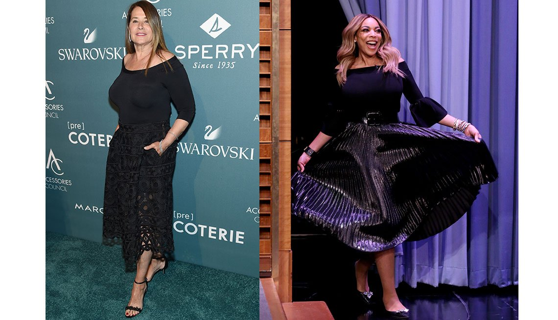 item 7, Gallery image. Lorraine Bracco in a lacy midi skirt; Wendy Williams in a belted, pleated, full midi skirt.