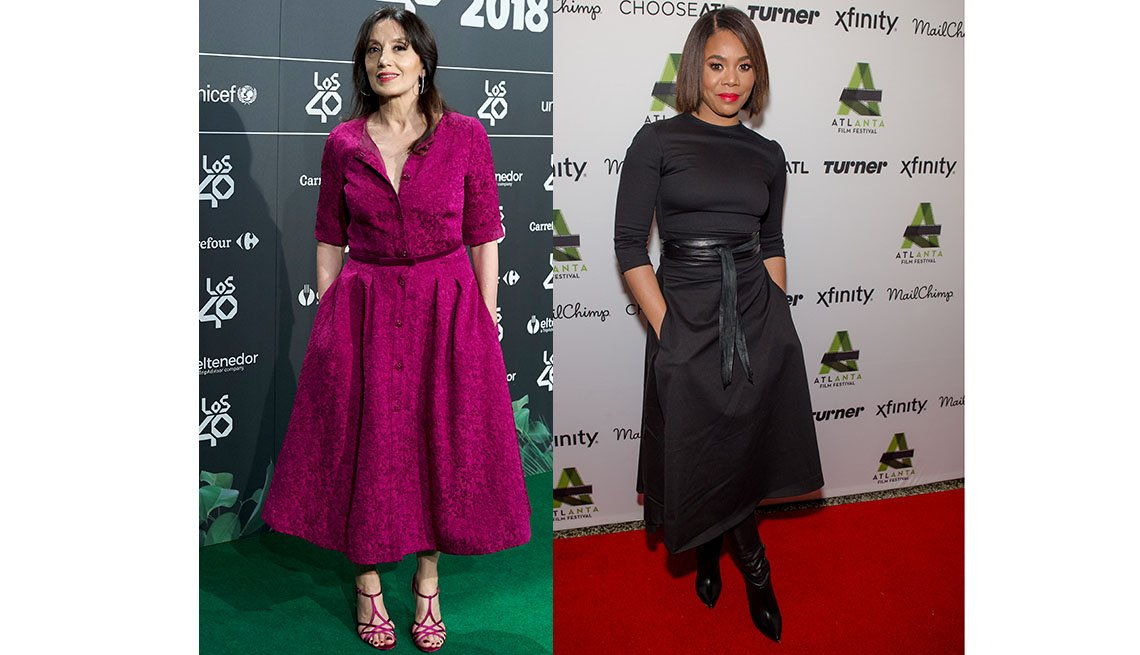 item 5, Gallery image. Spanish singer Luz Casal in a shirtdress; Regina Hall in an A-line midi wrap skirt.