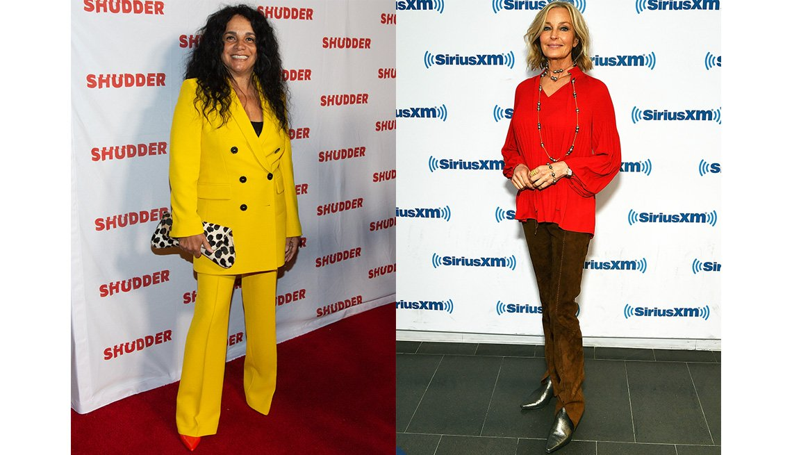 item 4, Gallery image. Kelly Jo Minter combines a yellow pantsuit with red pumps and black and white clutch; Bo Derek mixes brown suede pants, a red blouse and silver ankle boots.