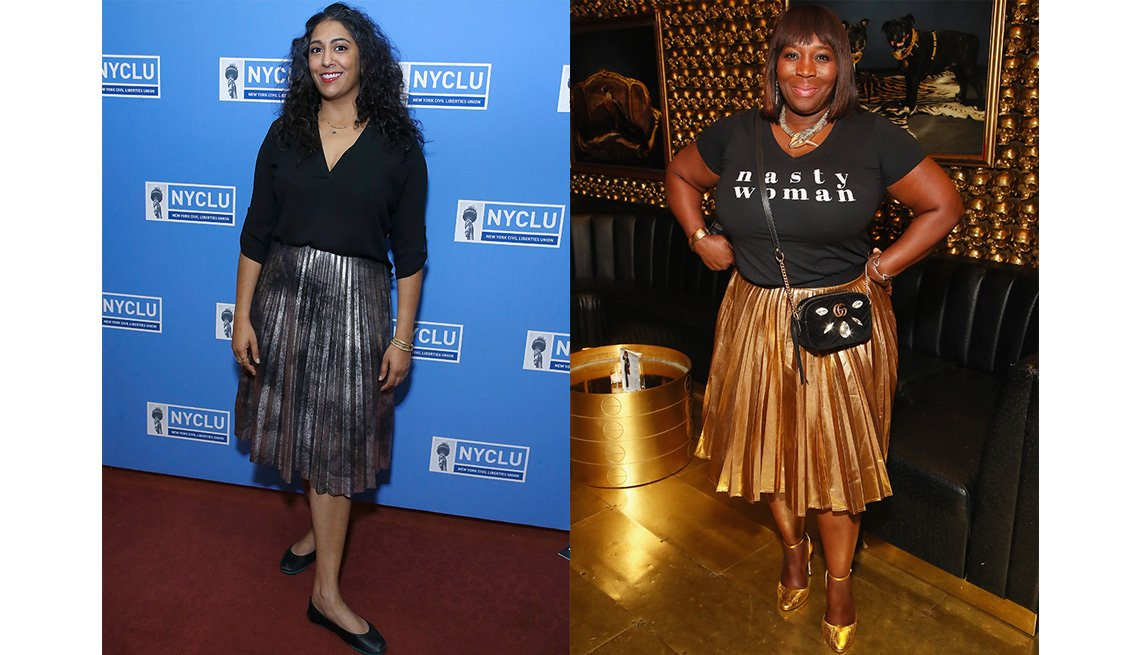 item 7, Gallery image. Elsa Davis in a silver pleated skirt, black top and ballet flats; Bevy Smith in a gold pleated pencil skirt and T-shirt.