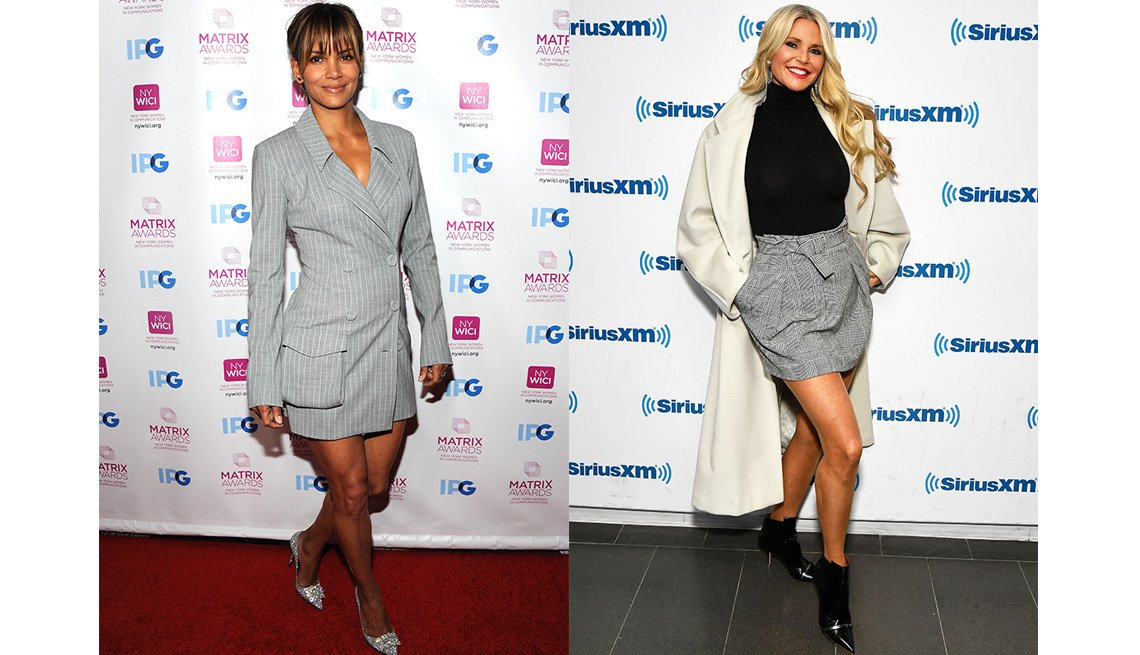 item 8, Gallery image. Halle Berry in a miniskirt tailored suit; Christie Brinkley in a mini, black turtleneck and booties and ivory coat.