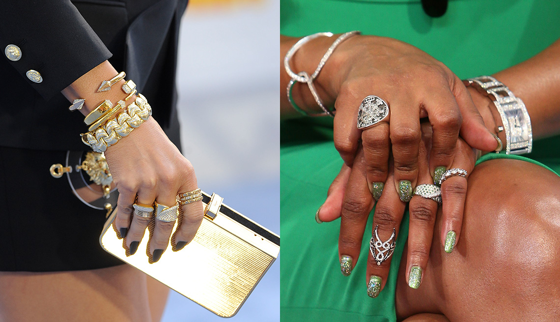item 1 of Gallery image - Side-by-side of arms, one with rings and bracelets, the other with rings and a watch