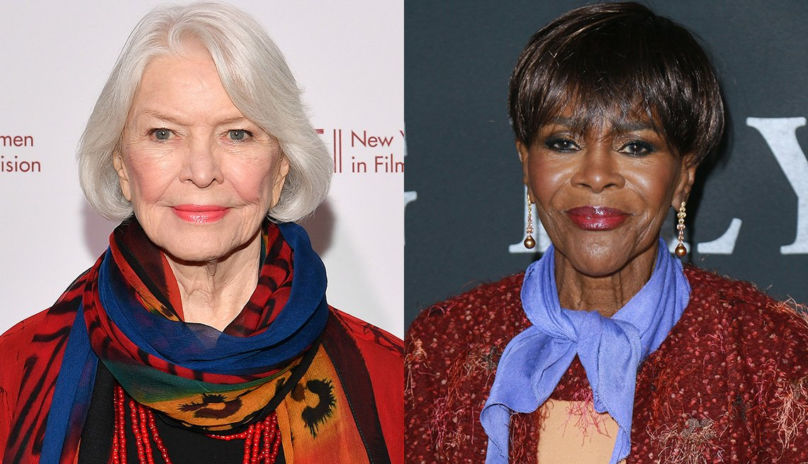 item 3, Gallery image. Ellen Burstyn adds a multicolor scarf for a face-brightening effect; Cicely Tyson with a sky-blue neckerchief.