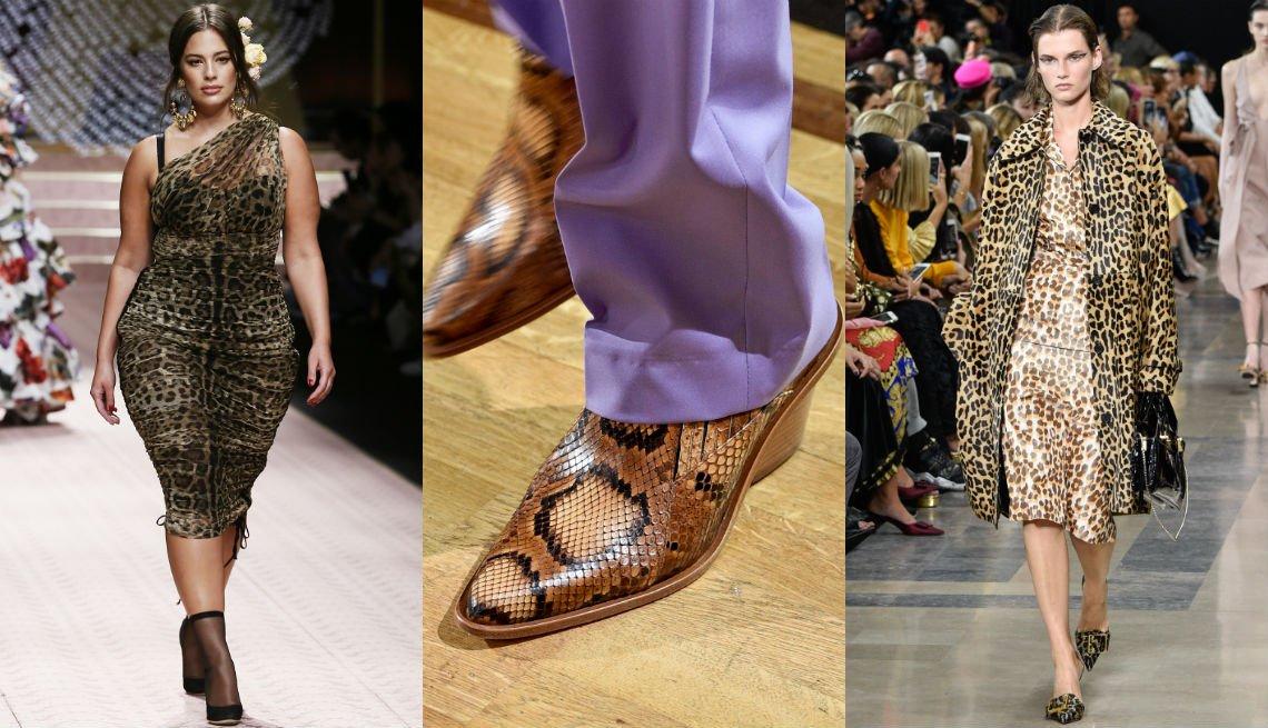 item 1, Gallery image. Vestido estampado de leopardo de Dolce & Gabbana; botas al tobillo de piel de serpiente de Paul & Joe con pantalones color lavanda; vestido y abrigo estampados de leopardo de Rochas.