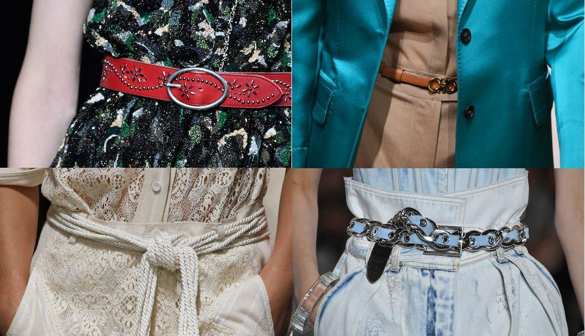 item 8, Gallery image. Cinturón tachonado con un vestido verde de lentejuelas de Saint Laurent; cinturón angosto Ferragamo con pantalones color piel; cinturón de cordón y cuentas de Philosophy Di Lorenzo Serafini; cinturón de cadena y cuero azul claro de Balmain con jeans de cintura alta.
