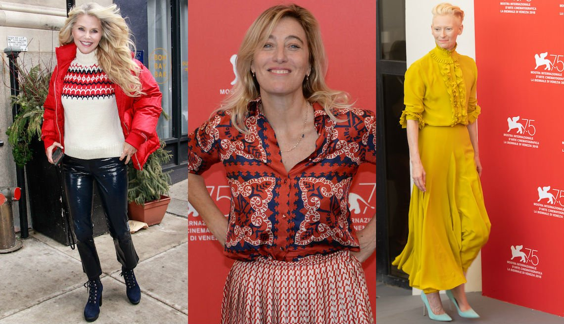 item 4, Gallery image. Christie Brinkley pairs a timeless turtleneck and red puffer with leather ankle-cropped pants; Valeria Bruni Tedeschi in mixed print blouse and skirt, and Tilda Swinton in yellow ruffled dress and baby blue classic heels.