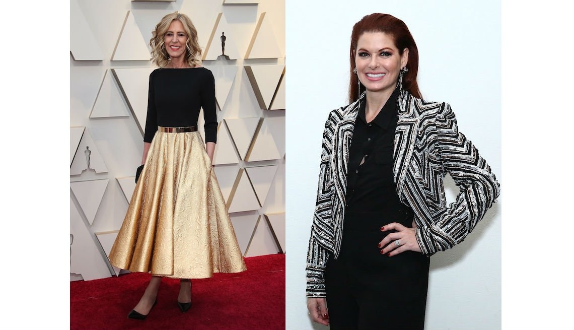 item 8, Gallery image. Christine Lahti in gold A-line midi skirt and black top and Debra Messing in cropped sequin jacket over a black blouse and pants.