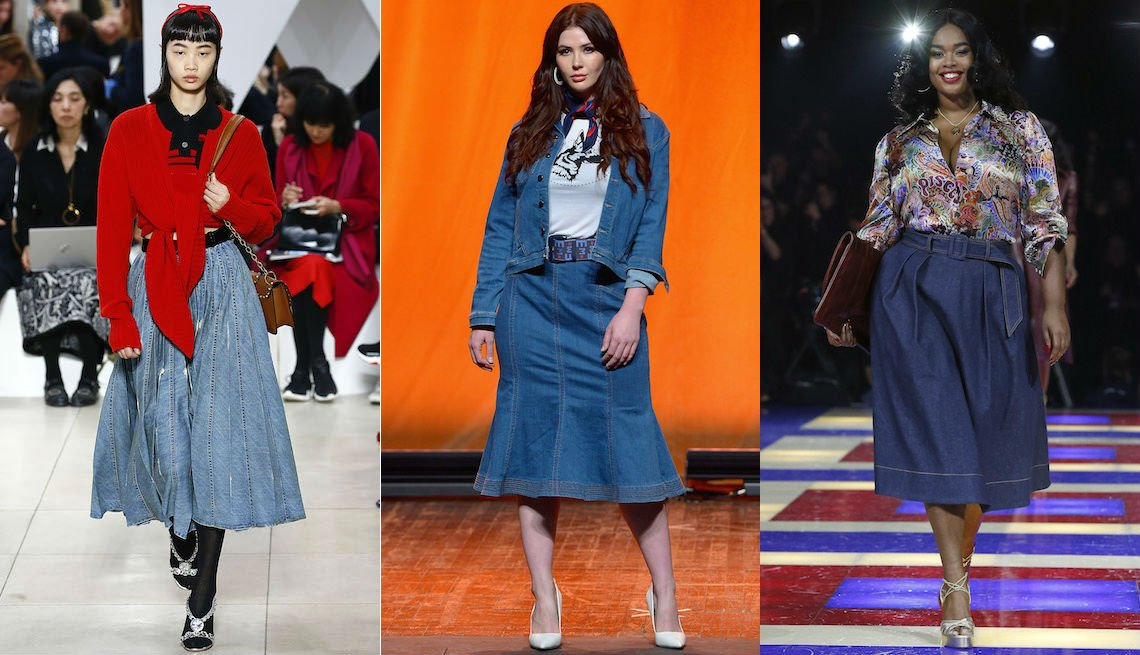 item 4, Gallery image. Miu Miu denim midi skirt Spring 2019 Eva Mendes for New York & Company; denim trumpet skirt and cropped jacket; Tommy Hilfiger denim midi with platform sandals and print blouse.