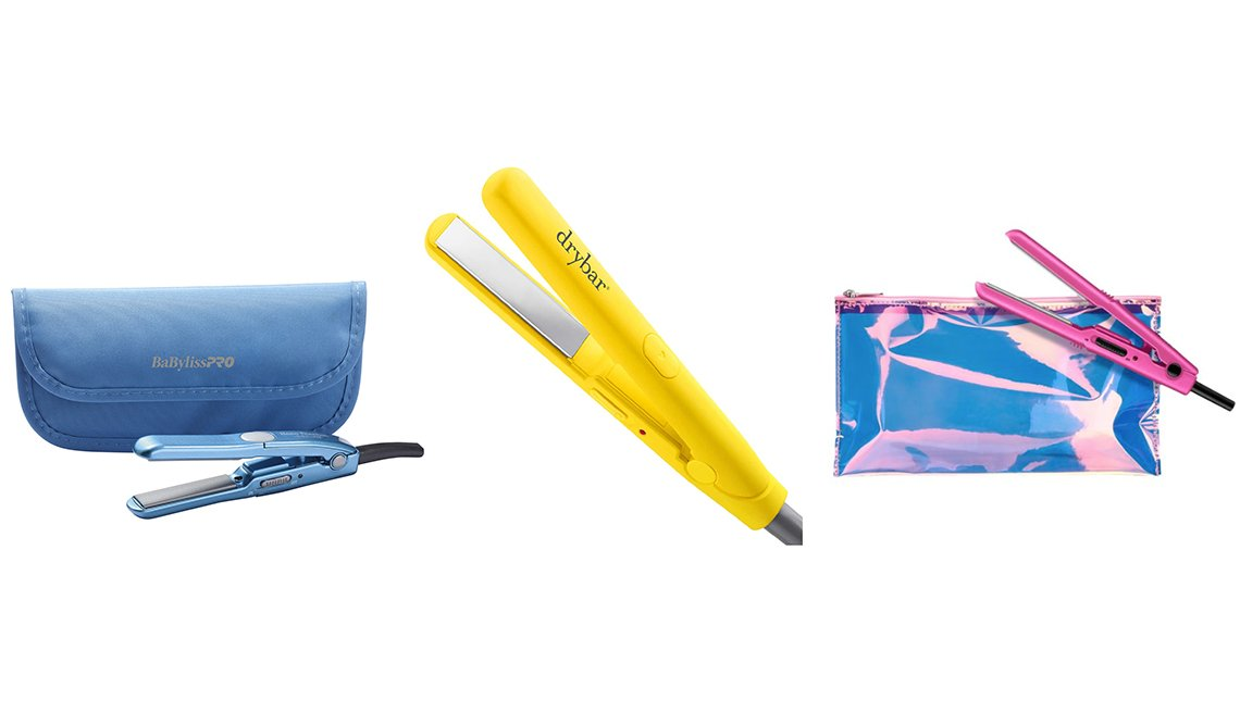 item 12 of Gallery image - BaBylissPRO Mini Straightening Iron with Traveling Pouch and Drybar The Tiny Press Compact Detailing Iron and Conair True Glow Glam .05 Inch Ceramic Flat Iron with Pouch
