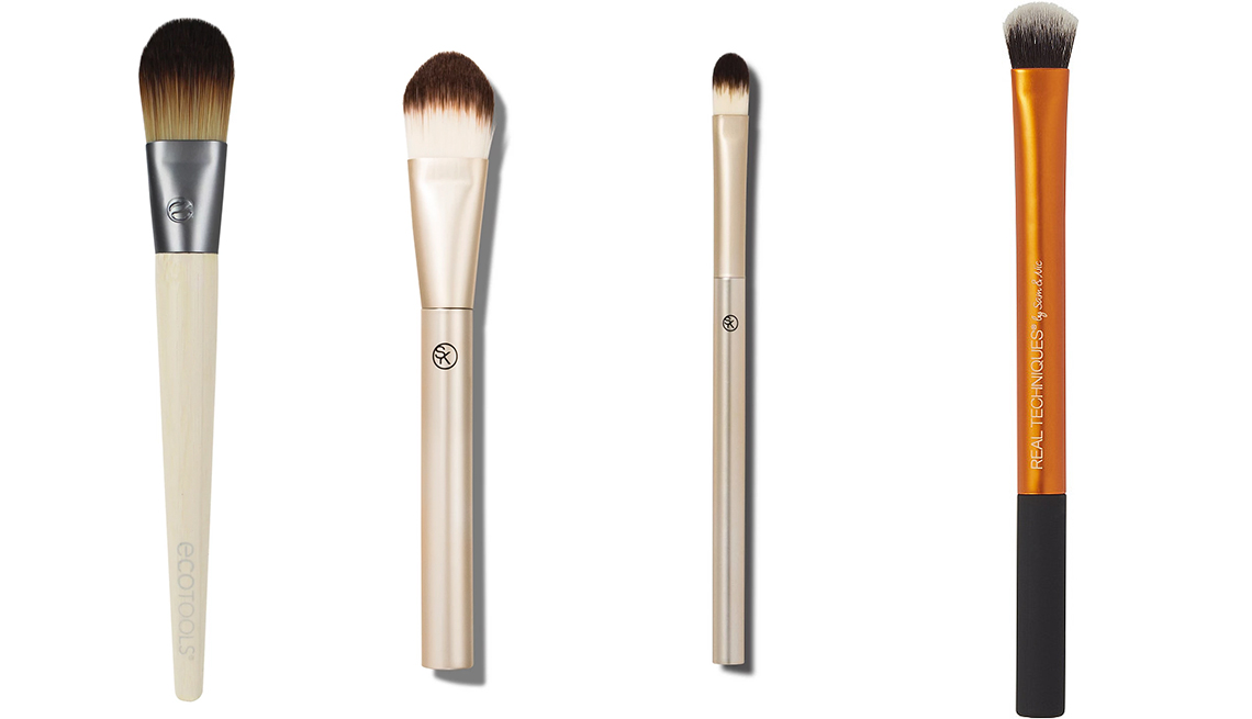 item 9 of Gallery image - EcoTools Classic Foundation Brush and Sonia Kashuk Paddle Foundation Makeup Brush and Sonia Kashuk Essential Precision Concealer Brush Gold and Real Techniques Expert Concealer Brush