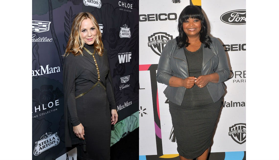 item 5, Gallery image. Maria Bello in taupe jersey draped cape-dress with statement necklace/belt combo, and Octavia Spencer in clingy gray knit sheath and gray nipped-waist leather biker jacket.