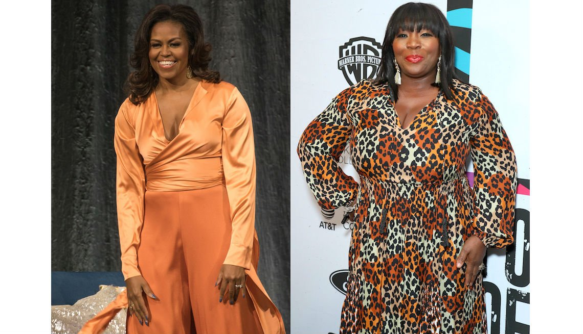 item 3, Gallery image. Michelle Obama in peach silk wrap blouse and wide-leg apricot pants and Bevy Smith in leopard wrap dress.