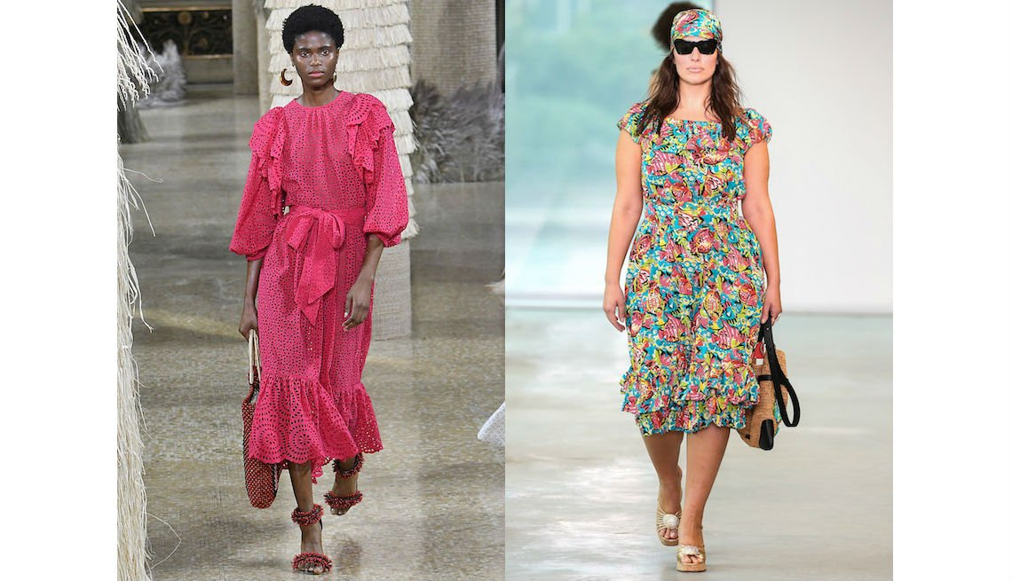 item 7, Gallery image. Vestido a mitad de la pantorrilla con volantes en color rosa brillante de Ulla Johnson; vestido floral a mitad de la pantorrilla de Michael Kors.