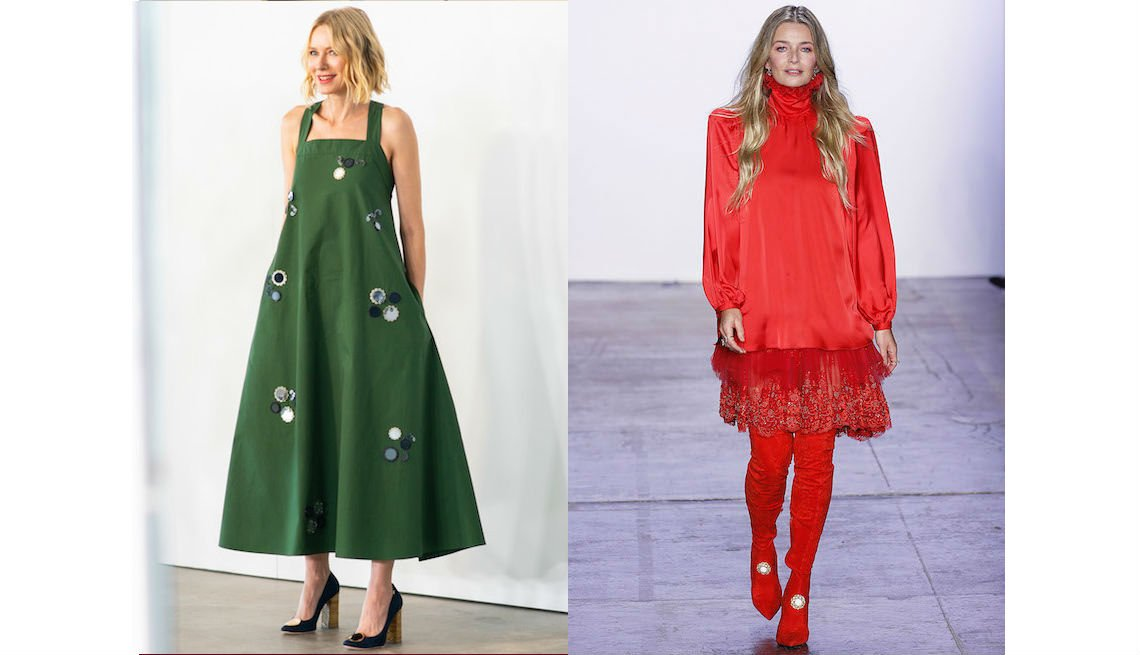item 6, Gallery image. Naomi Watts in green A-line loose midi dress and supermodel Paulina Porizkova in designer Jiri Kalfar — red head to toe.