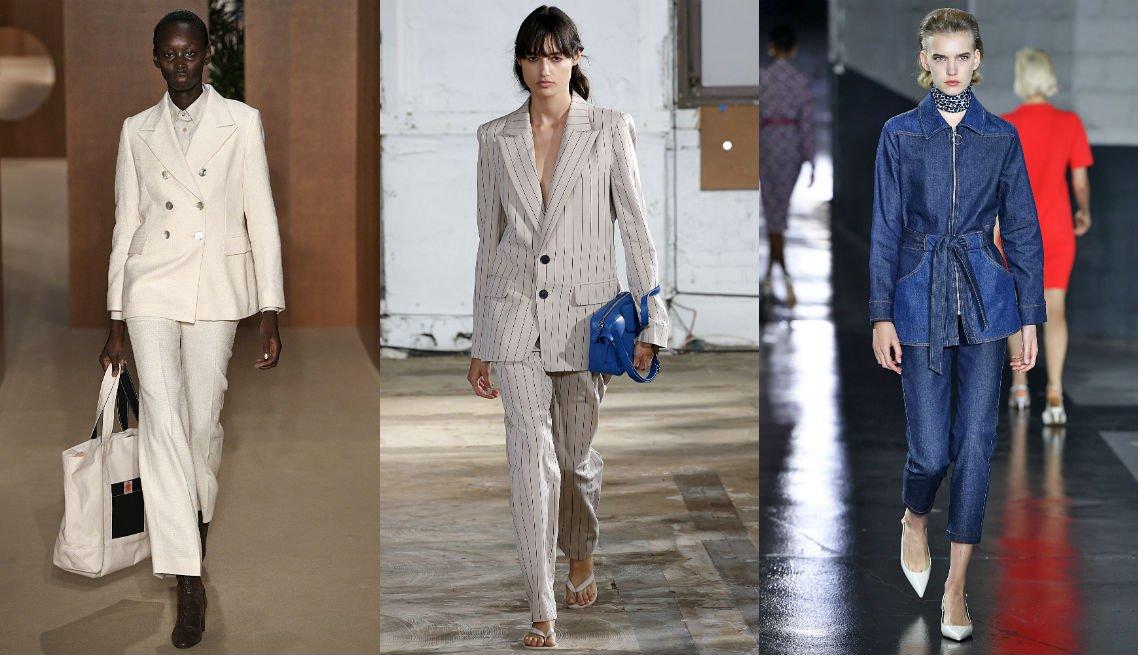 item 6, Gallery image. Traje sastre blanco con chaqueta cruzada y blusa blanca con botones de Alexa Chung; traje sastre rayado de Tibi; traje de mezclilla entallado, chaqueta con cinturón y pantalones angostos al tobillo de APC.