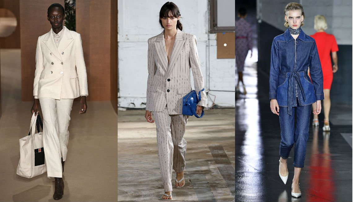 item 6, Gallery image. Alexa Chung white double-breasted pantsuit with white button down; Tibi pinstripe pantsuit; APC tailored denim pantsuit with belted jacket and slim ankle pants.